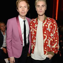 Beck and Justin Bieber at Saint Laurent. Photo: Kevin Mazur/Getty Images