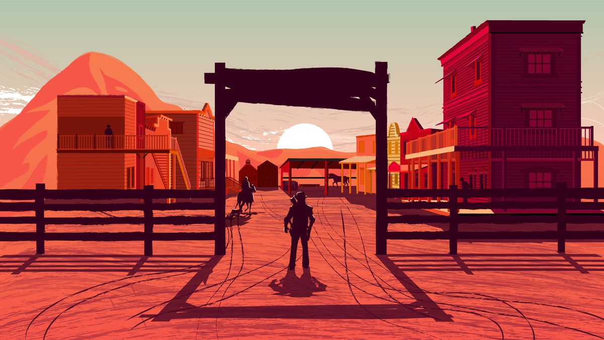 illustration of cowboy standing at entrance to Old West town