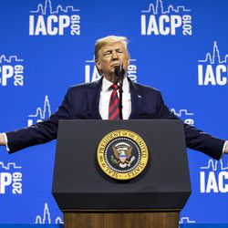 President Donald Trump speaks at the International Association of Chiefs of Police convention at McCormick Place, Monday morning, Oct. 28, 2019.