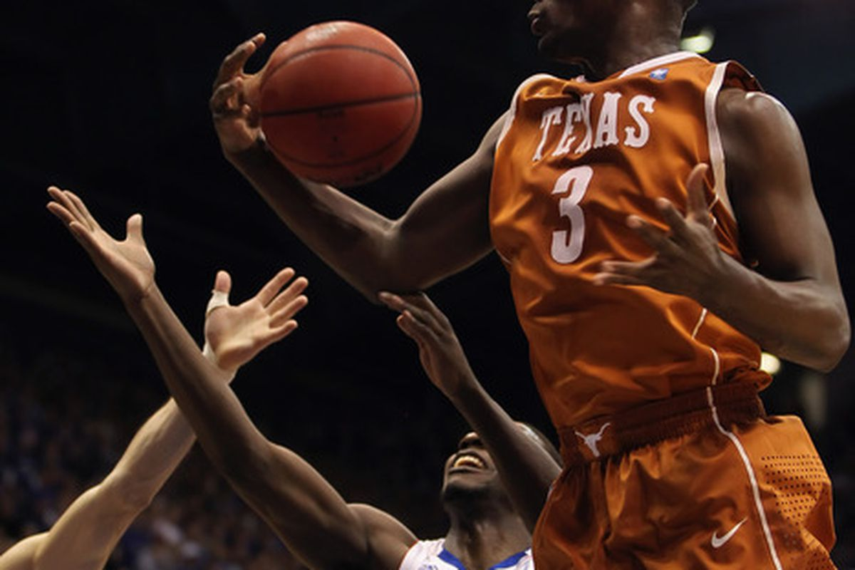 LAWRENCE KS - JANUARY 22:  Jordan Hamilton #3 of the Texas Longhorns grabs a rebound during the game against the Kansas Jayhawks on January 22 2011 at Allen Fieldhouse in Lawrence Kansas.  (Photo by Jamie Squire/Getty Images)