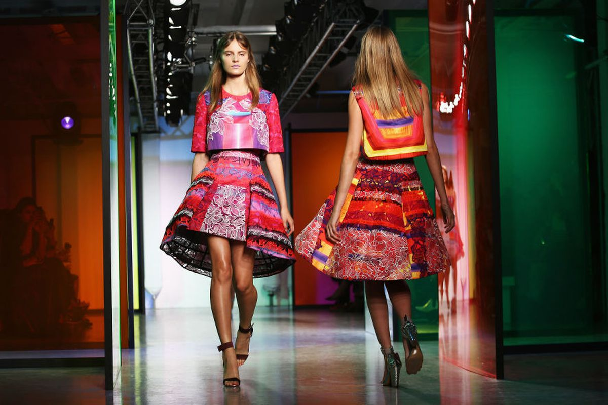 A look from the Peter Pilotto spring 2014 runway. Image via Getty.