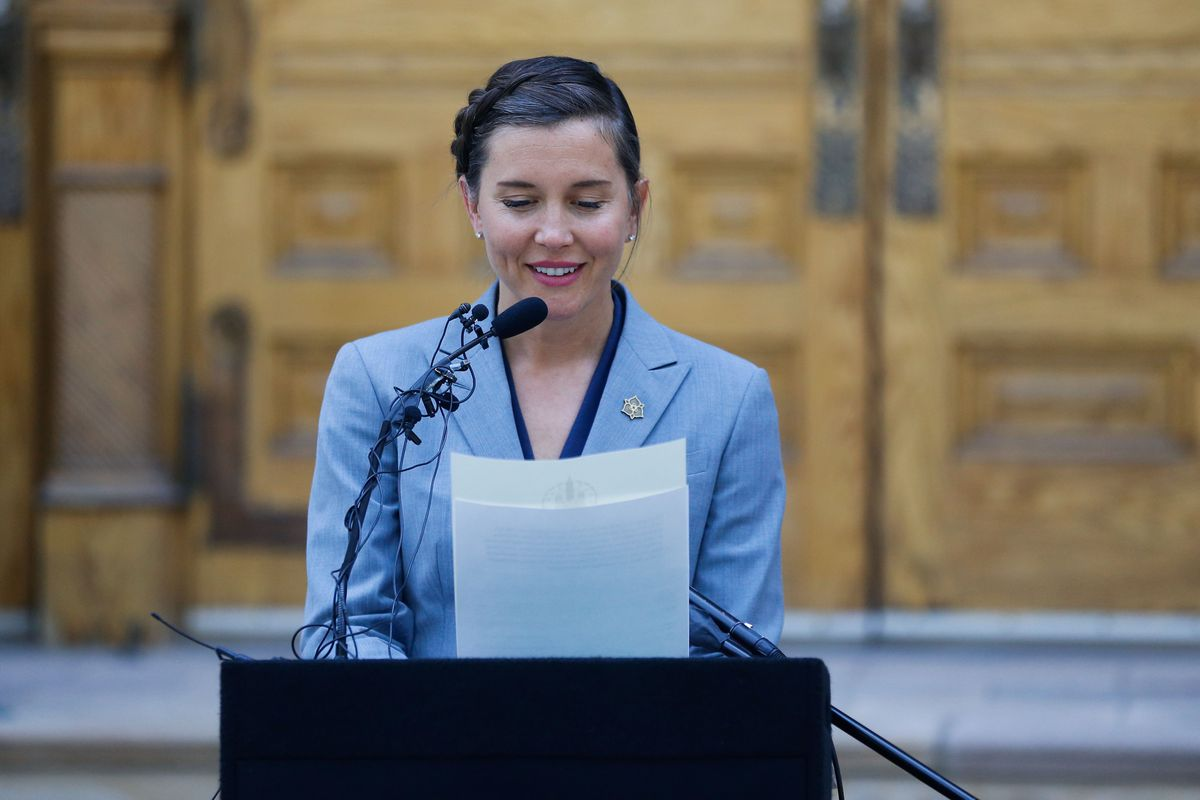 Salt Lake City Mayor Erin Mendenhall reads a proclamation at the Salt Lake City-County Building during a celebration to mark the beginning of Hispanic Heritage Month on Wednesday.
