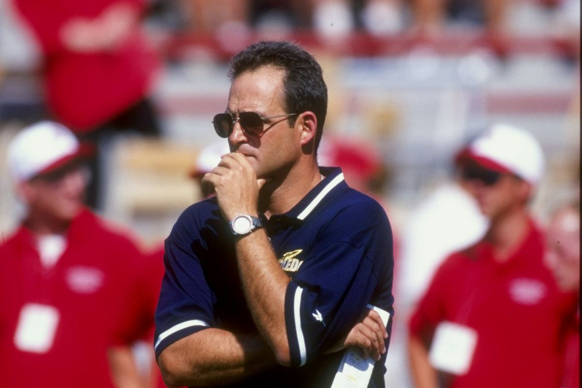 Gary Pinkel leads the Toledo Rockets against Ohio State in 1998.