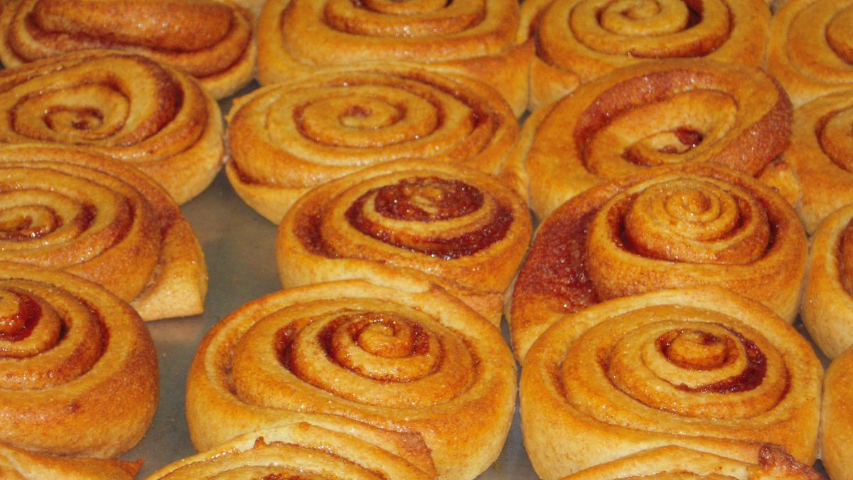 A tray of homemade cinnamon rolls was one of the class projects in the DPS scratch cooking boot camp.