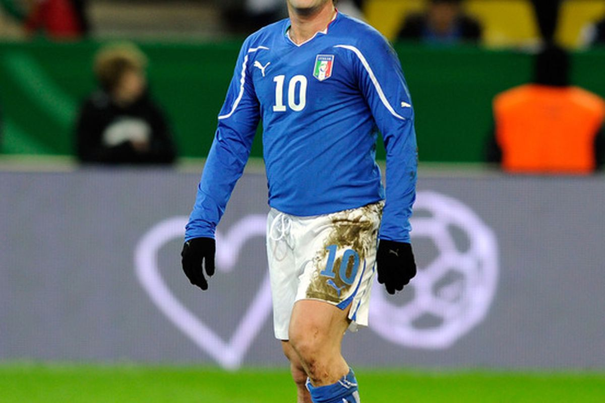 DORTMUND GERMANY - FEBRUARY 09:  Antonio Cassano of Italy during the International Friendly match between Germany and Italy on February 9 2011 in Dortmund Germany.  (Photo by Claudio Villa/Getty Images)