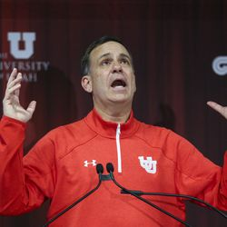 University of Utah athletic director Mark Harlan speaks during a groundbreaking ceremony for the new Ken Garff Performance Zone before the start of an NCAA football game between the Utah Utes and Colorado Buffaloes at Rice-Eccles Stadium in Salt Lake City on Saturday, Nov. 30, 2019.