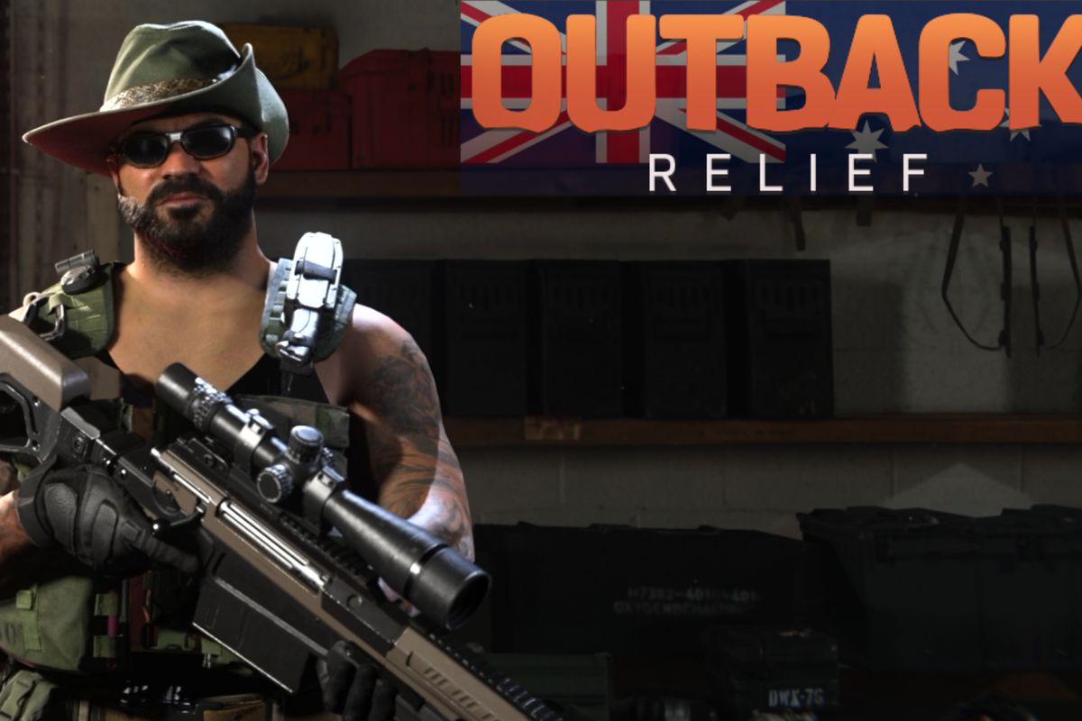 Promotional card for the Outback Relief Pack, showing a muscular bushfighter in a slouch hat brandishing a large rifle