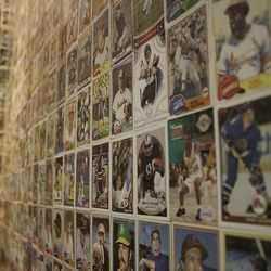 Baseball cards from Elizabeth Blau's childhood line the men's bathroom wall at Honey Salt.
