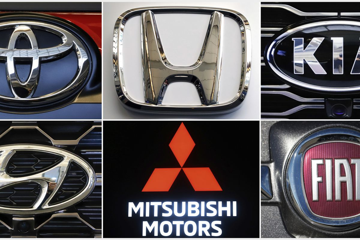 This undated combination of photos shows clockwise from top left the logos for Toyota, Honda, Kia, Fiat Chrysler, Mitsubishi and Hyundai. U.S. auto safety regulators have expanded an investigation into malfunctioning air bag controls to include 12.3 milli