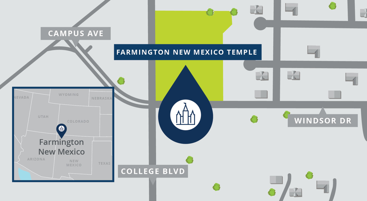 A map shows the location of the Farmington New Mexico Temple.