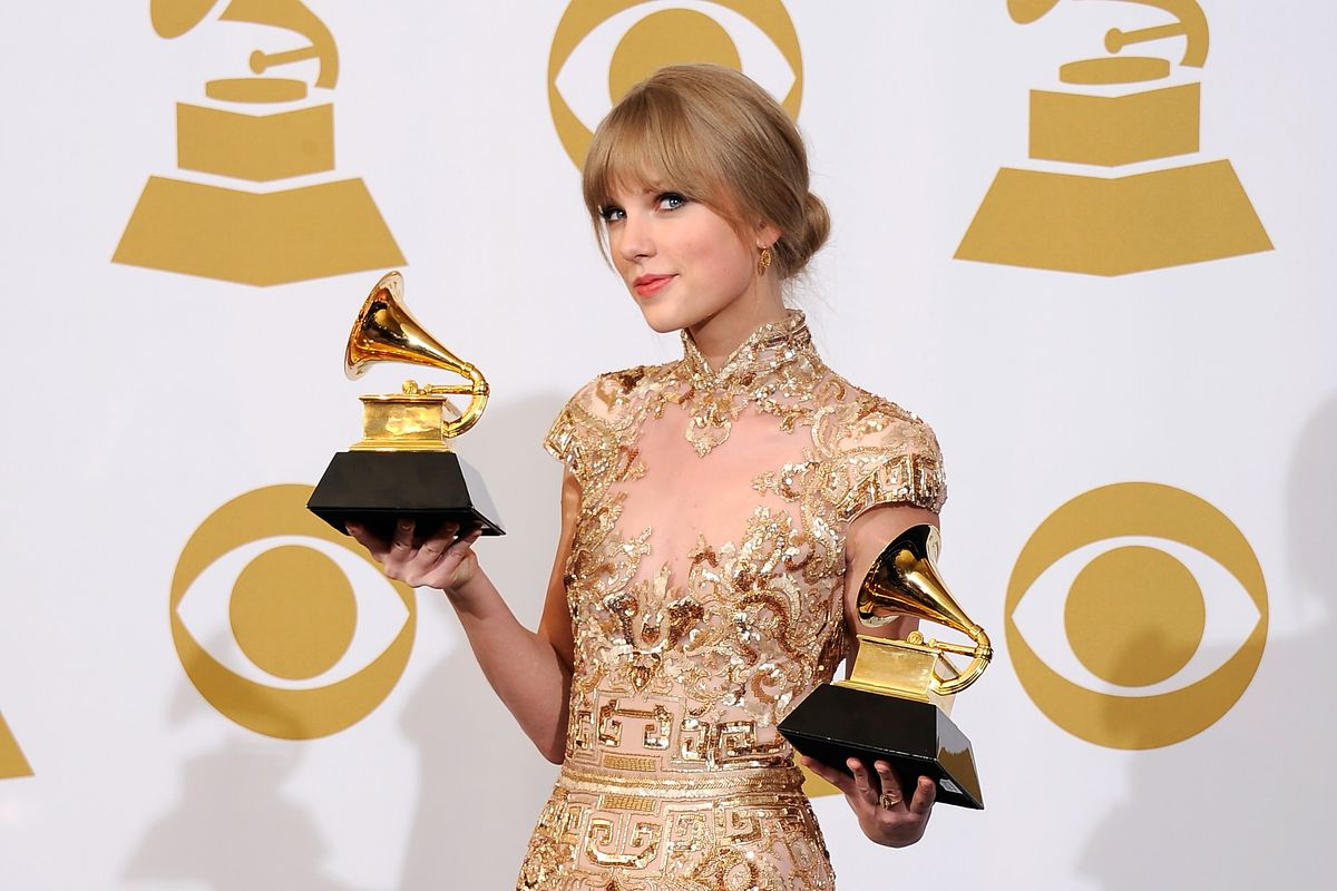 Taylor Swift with two Grammys. She should win one this year, but she might not