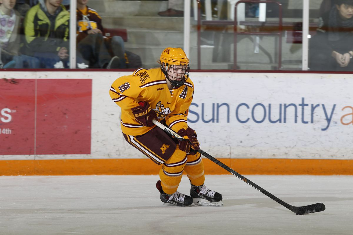 Lee Stecklein (2) scored the game-tying goal on Minnesota's 38th shot of the game.