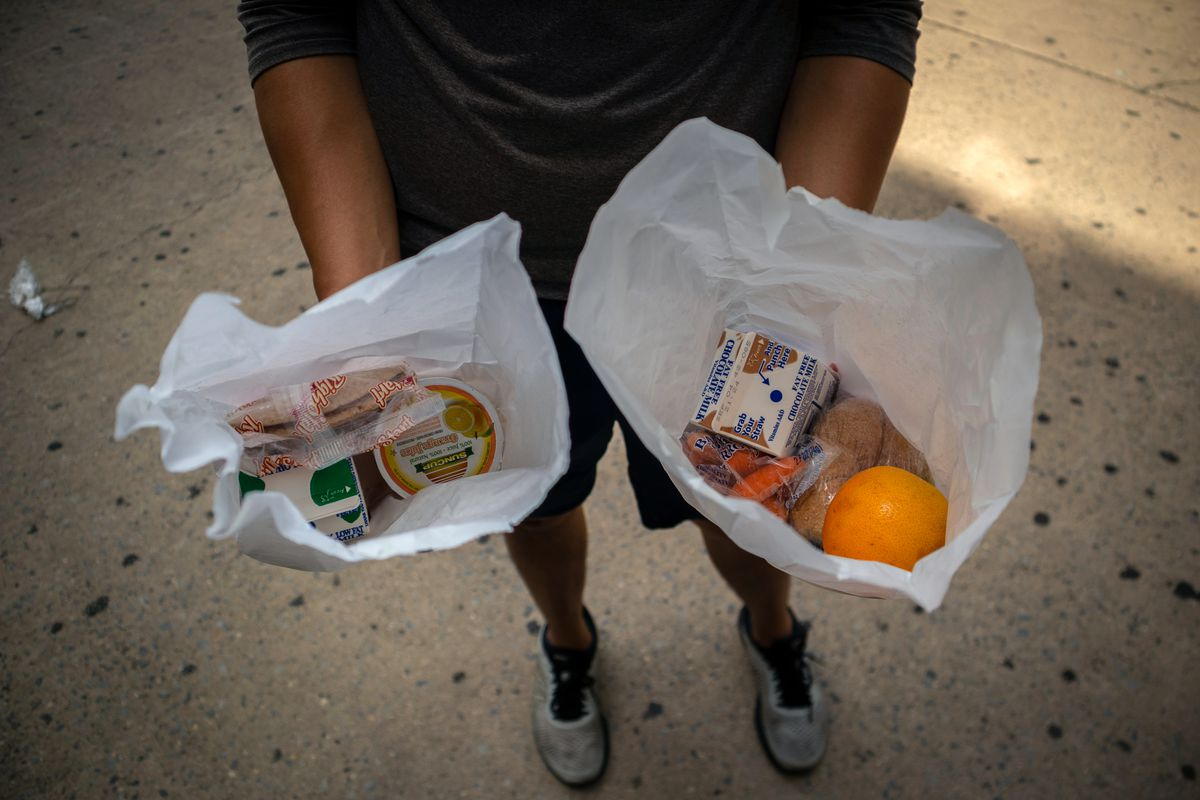 Each person at Pace High School in Manhattan's Chinatown was given one breakfast and one lunch bag on, Aug. 21, 2020.