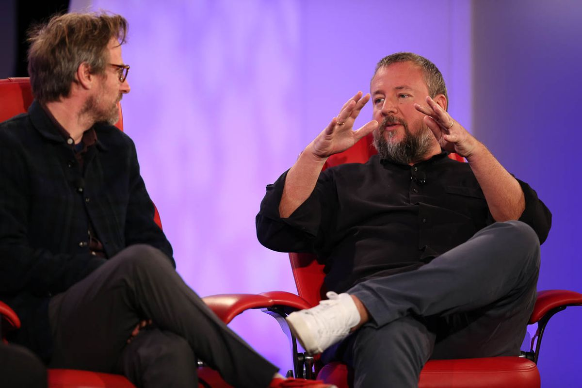 Spike Jonze (l) and Shane Smith (r)