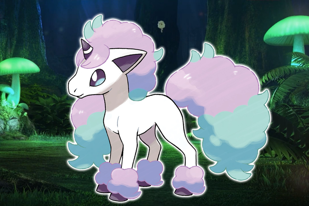 Galarian Ponyta, with a colorful mane and tail