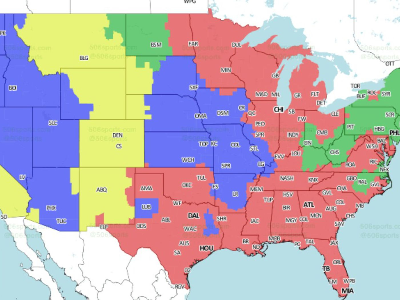 cab1c710 NFL Distribution Map: Who will see the Steelers vs. Bengals in Week ...