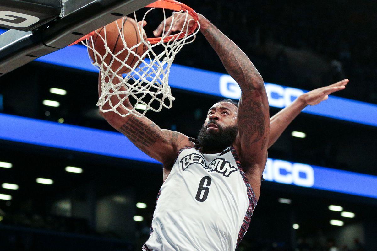 Brooklyn Nets center DeAndre Jordan dunks the ball during the second half against the Atlanta Hawks at Barclays Center.