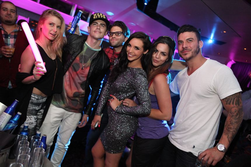 Ariana  Madix, Tom Schwartz, Tom Sandoval, Scheana Marie, Katie Maloney and Jax Taylor at Ghostbar. Photo: Joe Fury