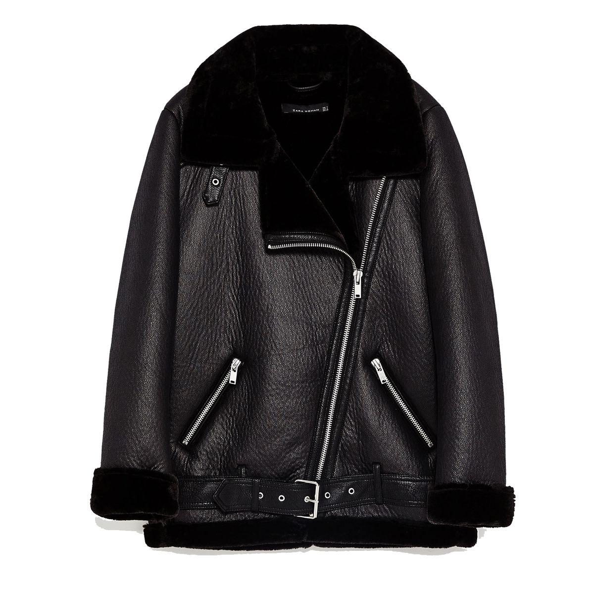 Zara faux fur leather jacket