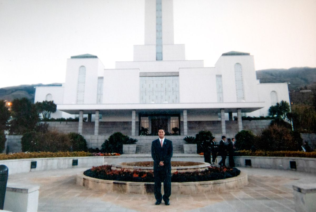 A personal photo of Joseph Hack outside an LDS temple during his mission in Bolivia for the LDS Church. Hack just recently had his name removed from the LDS church record using quitmormon.com.