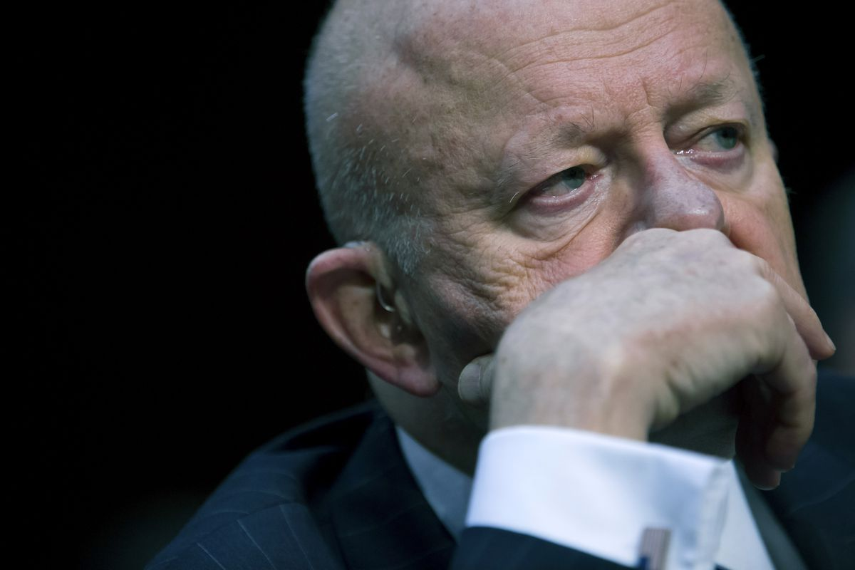 Former Director of National Intelligence James Clapper testifies before the Senate Judicary Committee's Subcommittee on Crime and Terrorism in the Hart Senate Office Building on Capitol Hill May 8, 2017 in Washington, DC.