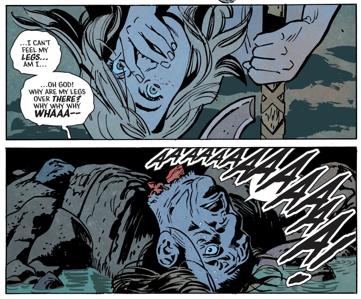 """A man screams that he can't feel his legs, """"Oh god! Why are my legs over there?"""" He is revealed to be a severed head, in Basketful of Heads #2, DC Comics (2019)."""