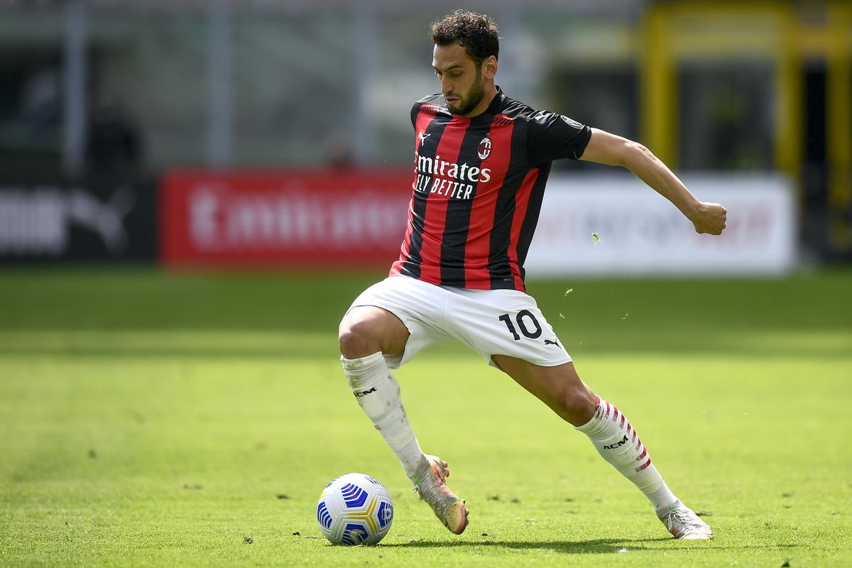 Hakan Calhanoglu of AC Milan in action during the Serie A...