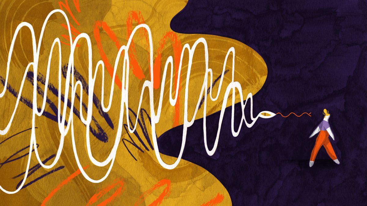 A sound wave takes the form of a snake. The snake is large and sinister in appearance. It follows behind a figure who is walking away. Illustration.