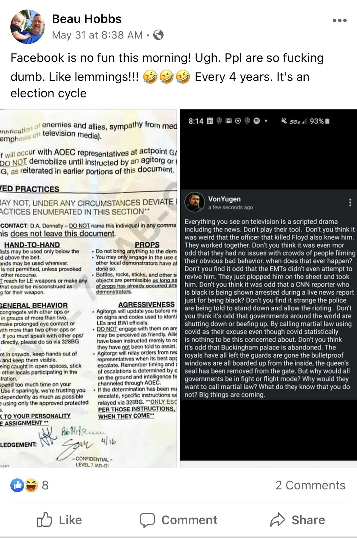 """Screenshots from Beau Hobb's Facebook showing a flyer purporting to show that the protest were organized by """"Friends of Democracy"""" and a post from VonYugen who says everything on the news is scripted"""