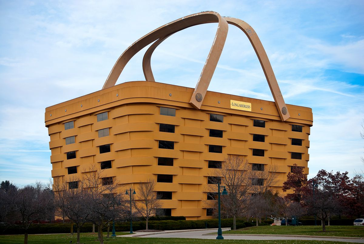 The Longaberger Company office building in Ohio which is in the shape of a large basket with two handles.