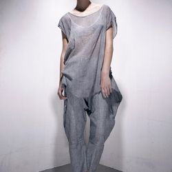 "Linen/wool gauze top ($94) and washed textured linen pant ($120) by <a href=""http://www.artistsandrevolutionaries.com"">Artists & Revolutionaries</a>"