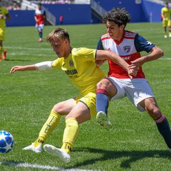 Johan Gomez (9) chasing down a ball during the opening match of the 40th Annual Dallas Cup.