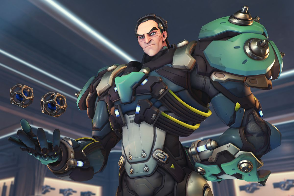 New hero Sigma holds two gravitational balls in his hand in a screenshot from Overwatch