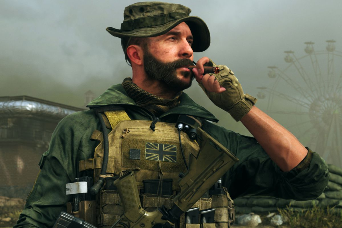 Captain Price from Modern Warfare smoking a cigar