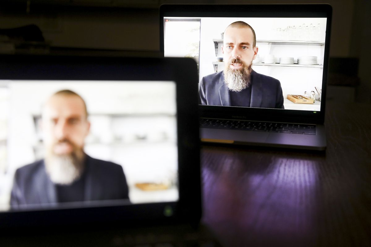 Jack Dorsey speaks virtually on camera during a congressional hearing.