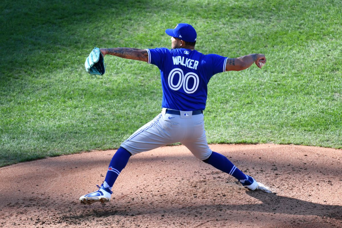 Toronto Blue Jays starting pitcher Taijuan Walker (00) throws a pitch during the fourth inning against the Philadelphia Phillies at Citizens Bank Park.