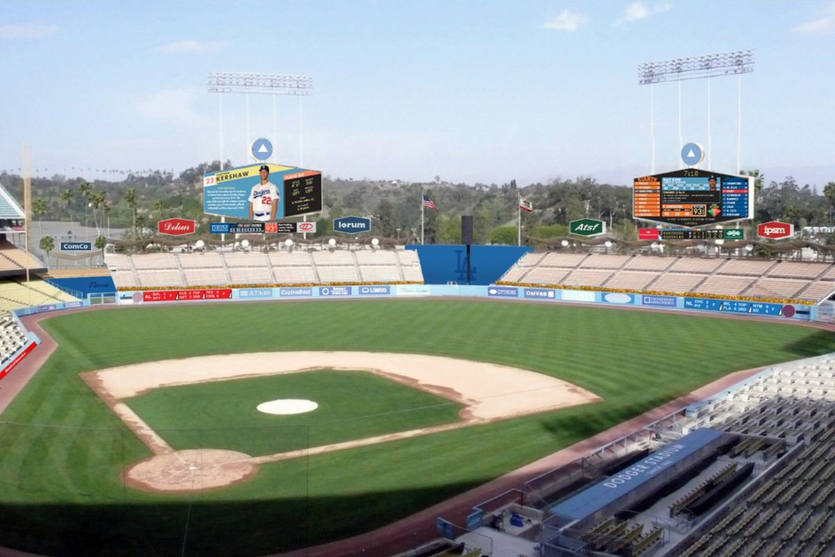 A rendering of the improvements slated for Dodger Stadium.