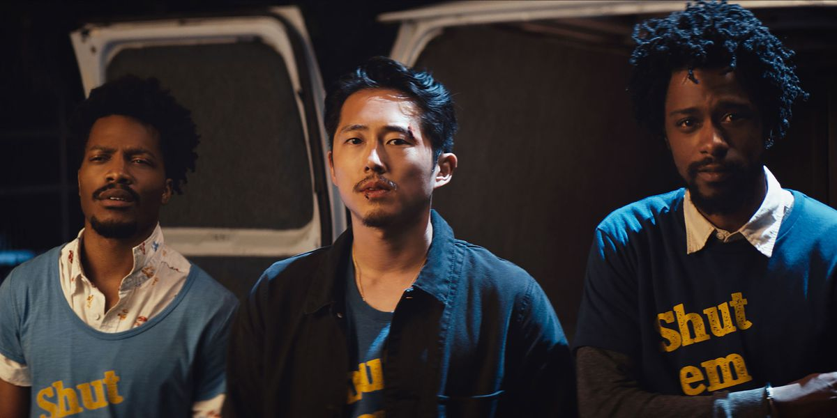 Yeun with Jermaine Fowler and Lakeith Stanfield in Sorry to Bother You.