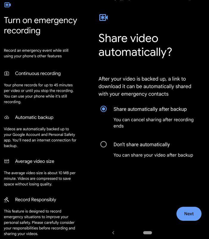 Pixel Emergency SOS settings screens