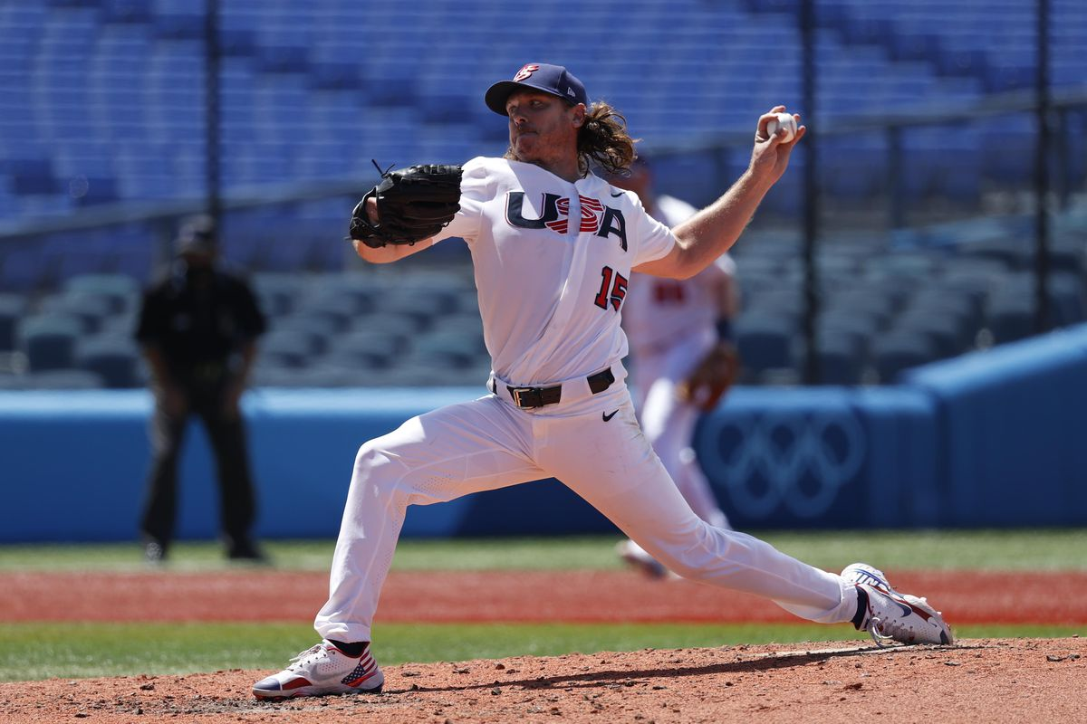 USA pitcher Scott Kazmir throws a pitch against Dominican Republic in a baseball repechage contest during the Tokyo 2020 Olympic Summer Games at Yokohama Baseball Stadium.