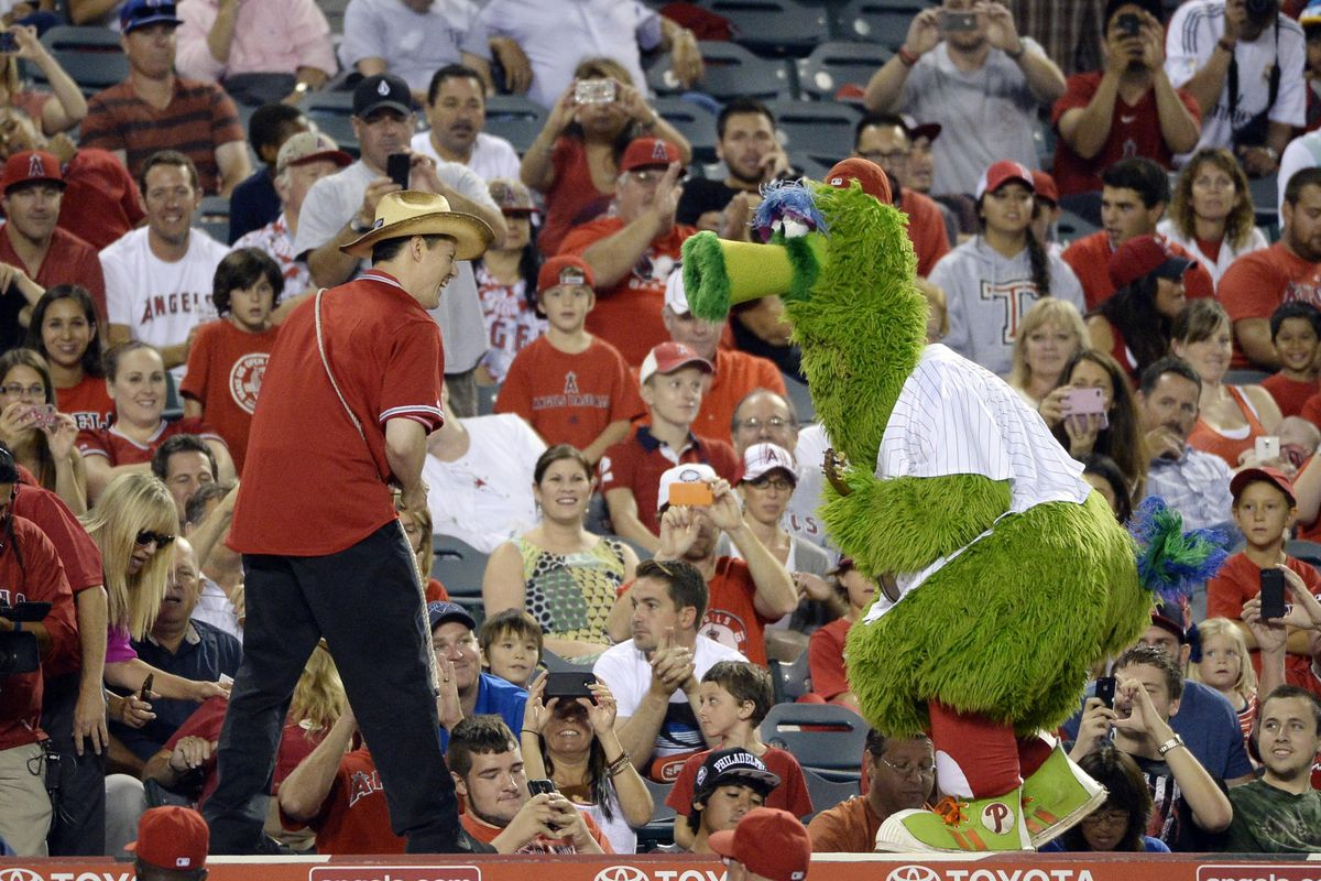 That's the Phillie Phanatic in Angels' Stadium. That was pretty cool, I guess.