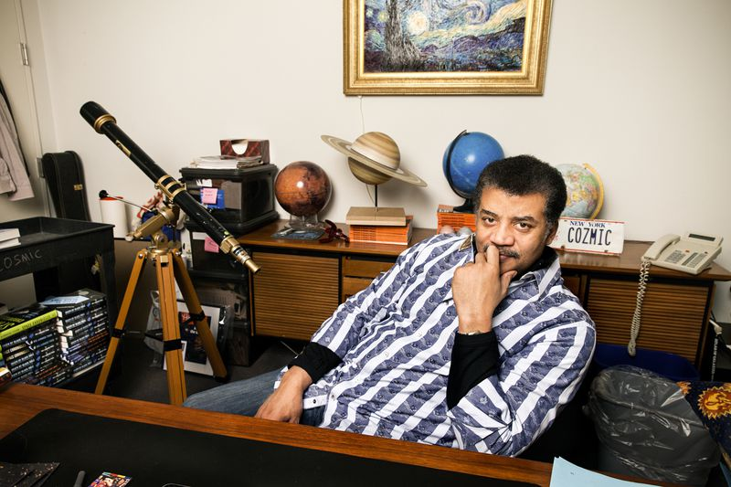 Scientist Neil deGrasse Tyson in his office at the Hayden Planetarium in New York, NY on February 4th, 2015.