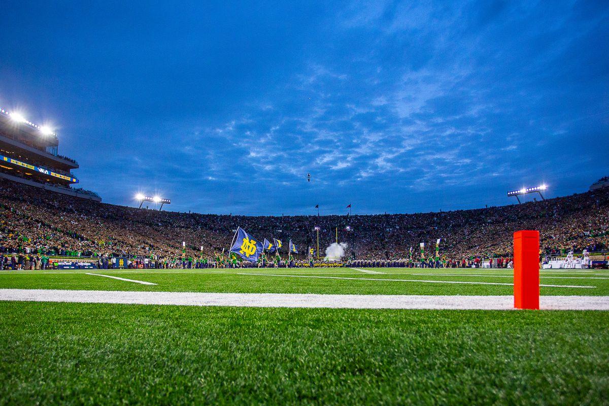 notre dame stadium at night