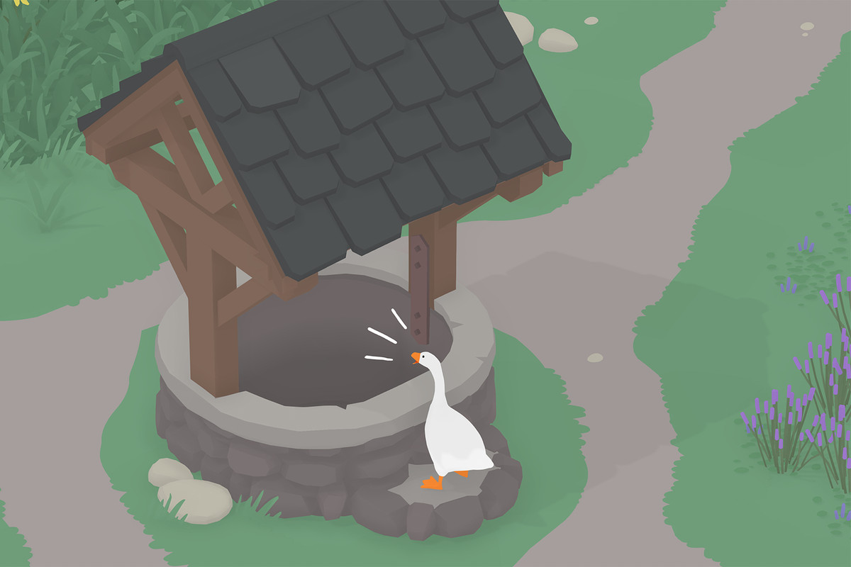 The goose from Untitled Goose Game yelling into a well.