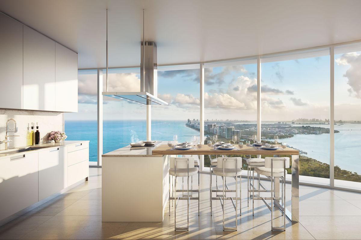 Inside a kitchen in The Ritz-Carlton Residences, Sunny Isles Beach facing south with amazing ocean and beach views