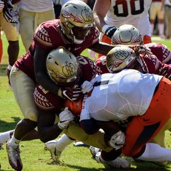 An honest to goodness gang tackle from the Florida State defense against Syracuse.