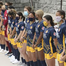 Utah Royals FC players unveil new jerseys for the upcoming season in Herriman on Wednesday, June 17, 2020.