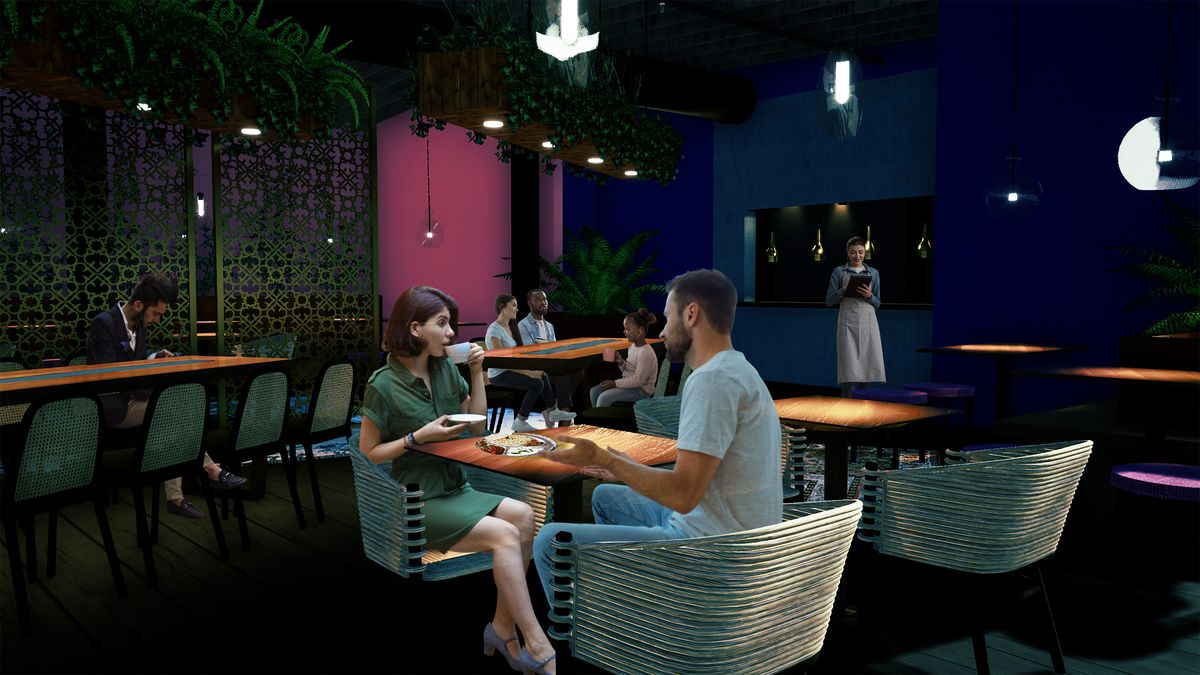 Figures sit at two top tables in view of the expediting station in the Midnight Temple dining room illustration.