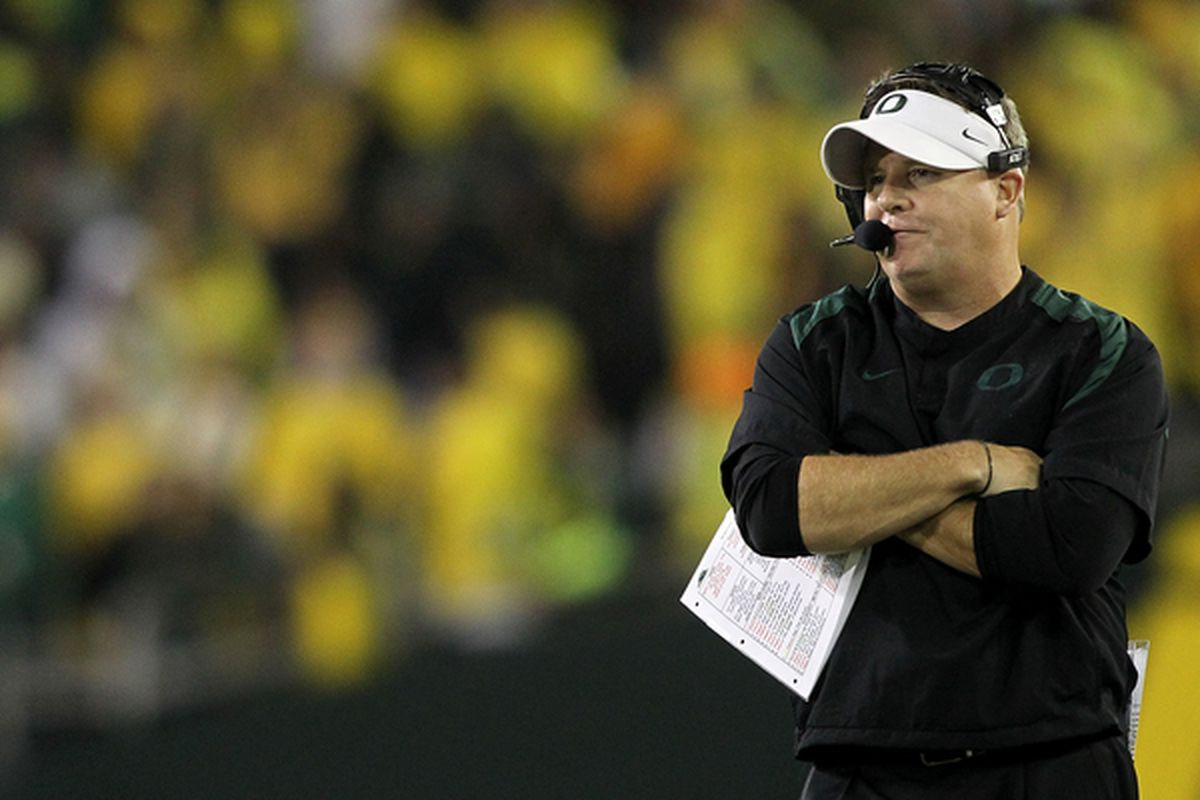 EUGENE OR - OCTOBER 21:  Head Coach Chip Kelly of the Oregon Ducks watches the game against  the UCLA Bruins  on October 21 2010 at the Autzen Stadium in Eugene Oregon.  (Photo by Jonathan Ferrey/Getty Images)