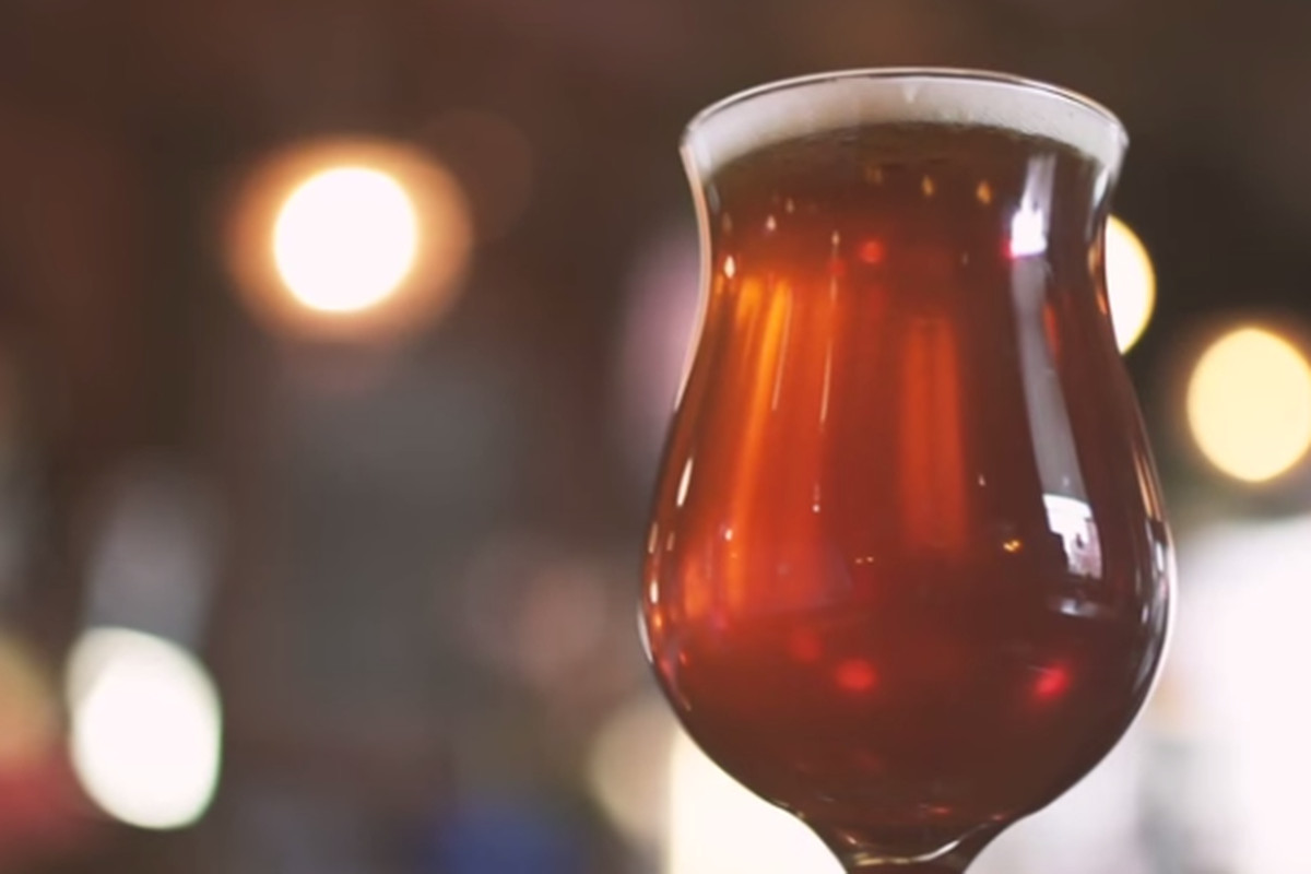 A clip from the new Pure Michigan commercial featuring a tulip glass filled with Michigan craft brew.